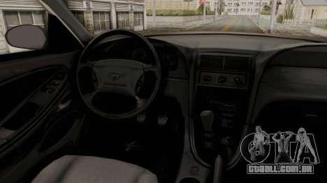 Ford Mustang 1999 Monster Truck para GTA San Andreas vista interior