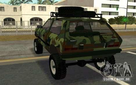 Zastava Yugo para GTA San Andreas traseira esquerda vista