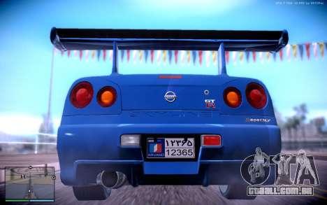 Nissan Skyline GT-R R34 para GTA San Andreas traseira esquerda vista