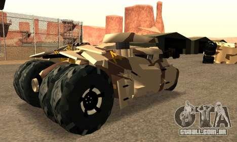 Army Tumbler Gun Tower from TDKR para GTA San Andreas traseira esquerda vista