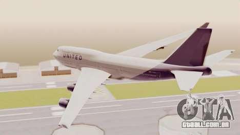 Boeing 747-400 United Airlines para GTA San Andreas vista direita