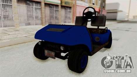 GTA 5 Gambler Caddy Golf Cart IVF para GTA San Andreas vista direita