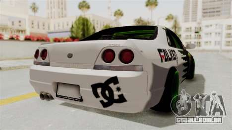 Nissan Skyline R33 Drift Monster Energy Falken para GTA San Andreas vista direita