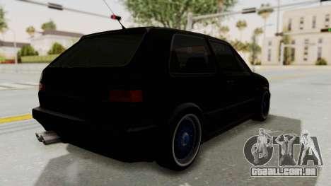 Volkswagen Golf 2 GTI para GTA San Andreas traseira esquerda vista