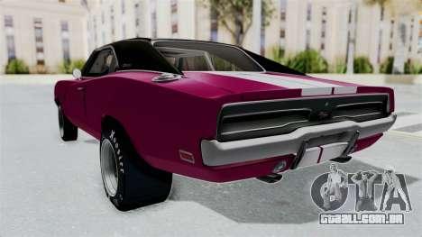 Dodge Charger 1969 Drag para GTA San Andreas traseira esquerda vista