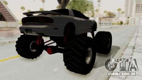 Pontiac Firebird Trans Am 2002 Monster Truck para GTA San Andreas traseira esquerda vista
