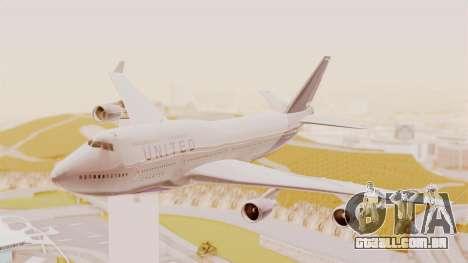 Boeing 747-400 United Airlines para GTA San Andreas traseira esquerda vista