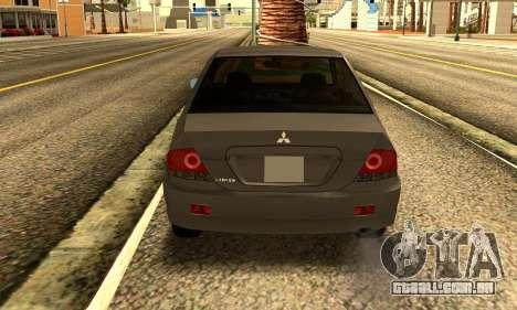Mitsubishi Lancer 2005 para GTA San Andreas vista direita