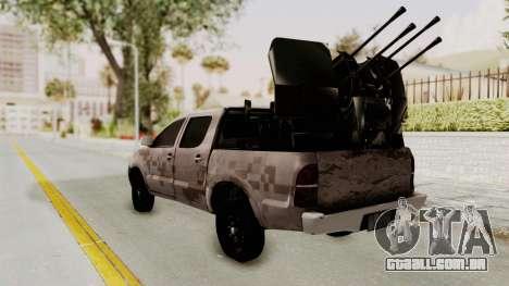 Toyota Hilux 2014 Army Libyan para GTA San Andreas esquerda vista
