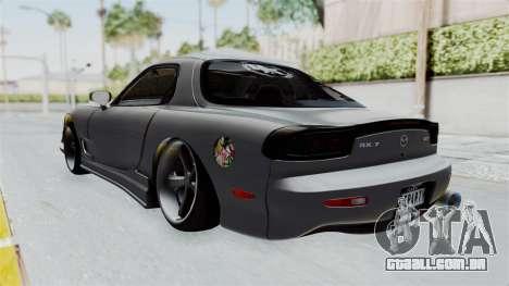 Mazda RX-7 FD3S HellaFlush para GTA San Andreas traseira esquerda vista