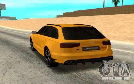 Audi RS6 Avant 2015 ABT para GTA San Andreas traseira esquerda vista