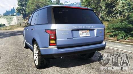GTA 5 Range Rover (L405) Vogue 2013 traseira vista lateral esquerda