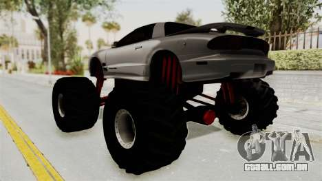 Pontiac Firebird Trans Am 2002 Monster Truck para GTA San Andreas esquerda vista