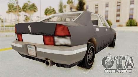 GTA 3 Sentinel para GTA San Andreas traseira esquerda vista