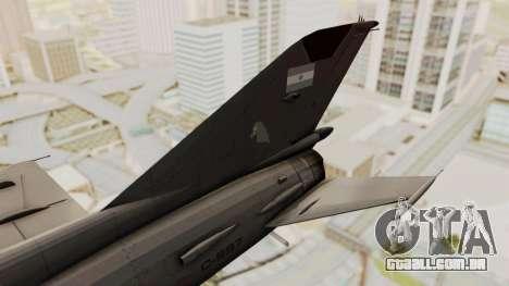 O MIG-21 BIS da Força Aérea Argentina para GTA San Andreas traseira esquerda vista