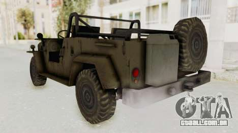 MGSV Jeep No LMG para GTA San Andreas traseira esquerda vista