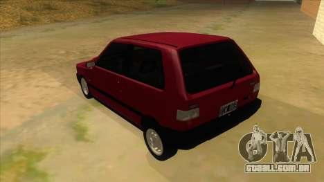 Fiat Uno S para GTA San Andreas traseira esquerda vista