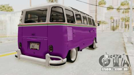 Volkswagen T1 Station Wagon De Luxe Type2 1963 para GTA San Andreas traseira esquerda vista