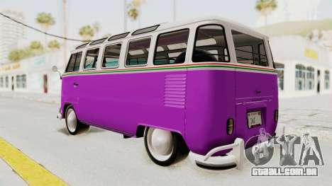Volkswagen T1 Station Wagon De Luxe Type2 1963 para GTA San Andreas esquerda vista