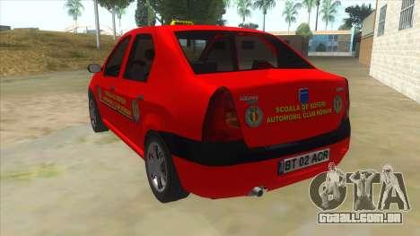 Dacia Logan Scoala para GTA San Andreas traseira esquerda vista