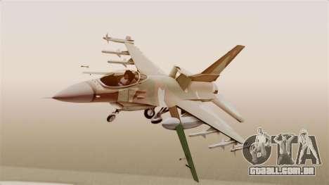 F-16A General Dynamics Chadian Air Force para GTA San Andreas traseira esquerda vista