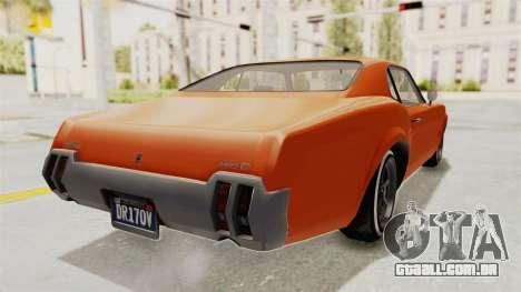 GTA 5 Declasse Sabre GT2 B para GTA San Andreas traseira esquerda vista