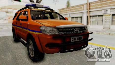 Toyota Fortuner JPJ Orange para GTA San Andreas