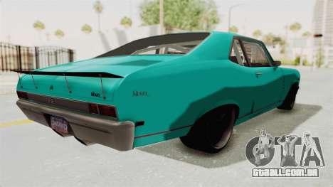 Chevy Nova 454 para GTA San Andreas traseira esquerda vista