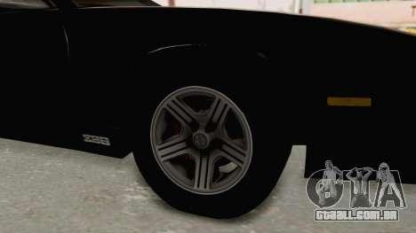 Chevrolet Camaro Z28 Iroc-Z Targa 1991 para GTA San Andreas vista traseira