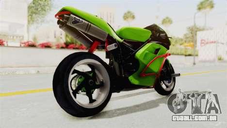 Ducati 998R Modif Stunt para GTA San Andreas traseira esquerda vista