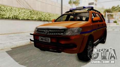 Toyota Fortuner JPJ Orange para GTA San Andreas traseira esquerda vista