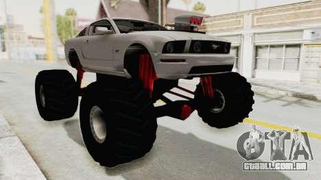 Ford Mustang 2005 Monster Truck para GTA San Andreas vista direita