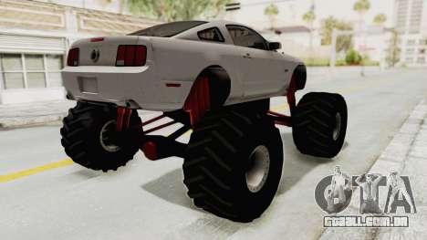 Ford Mustang 2005 Monster Truck para GTA San Andreas traseira esquerda vista
