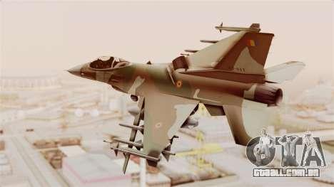 F-16A General Dynamics Chadian Air Force para GTA San Andreas vista direita