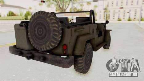 MGSV Jeep No LMG para GTA San Andreas esquerda vista