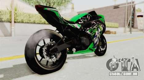 Kawasaki Ninja 250FI Kochiya Sanae Itasha para GTA San Andreas traseira esquerda vista