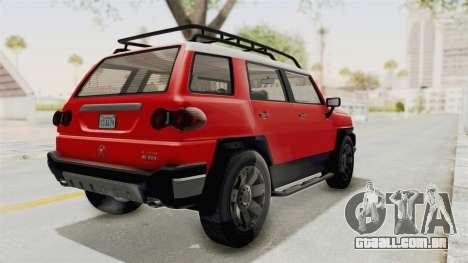 GTA 5 Karin Beejay XL IVF para GTA San Andreas traseira esquerda vista
