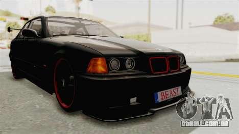 BMW M3 E36 Beast para GTA San Andreas traseira esquerda vista