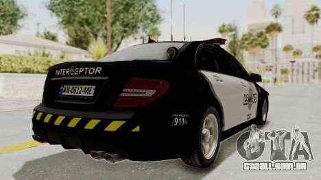 Mercedes-Benz C63 AMG 2010 Police v2 para GTA San Andreas vista direita
