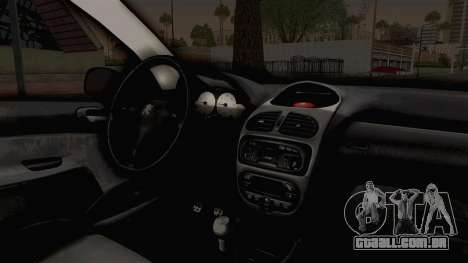Peugeot 206 Full para GTA San Andreas vista interior