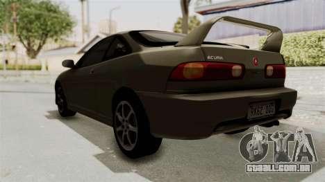 Acura Integra Fast N Furious para GTA San Andreas traseira esquerda vista