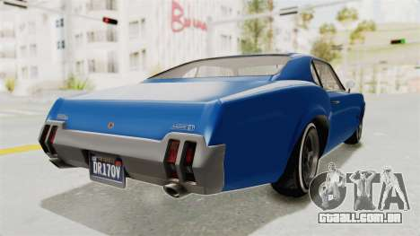 GTA 5 Declasse Sabre GT2 A para GTA San Andreas vista direita