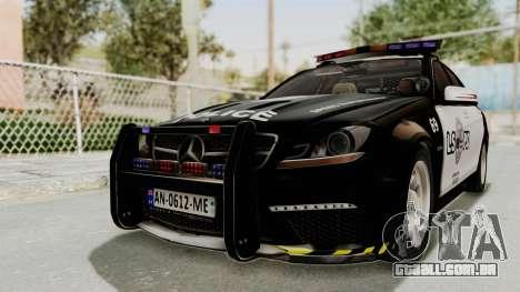 Mercedes-Benz C63 AMG 2010 Police v2 para GTA San Andreas traseira esquerda vista