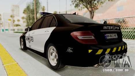 Mercedes-Benz C63 AMG 2010 Police v2 para GTA San Andreas esquerda vista