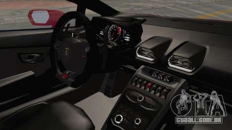 Lamborghini Huracan 2014 Stock para GTA San Andreas vista interior