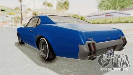 GTA 5 Declasse Sabre GT2 A para GTA San Andreas esquerda vista