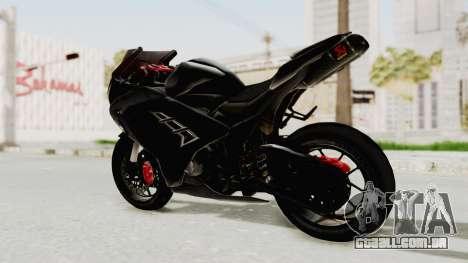 Kawasaki Ninja 300 FI Modification para GTA San Andreas traseira esquerda vista