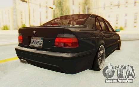 BMW M5 E39 M-Tech USDM para GTA San Andreas traseira esquerda vista