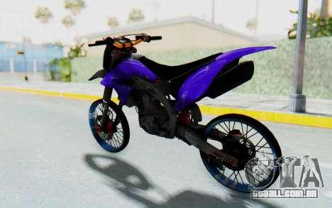 Kawasaki KLX150S Thailock Style para GTA San Andreas vista direita