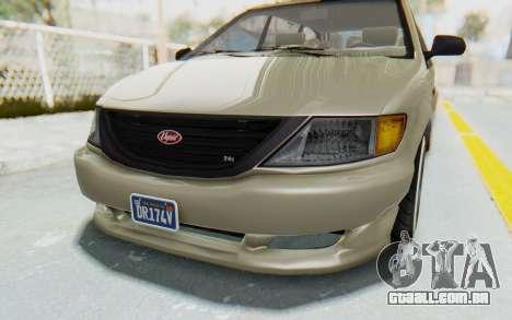 GTA 5 Vapid Minivan Custom without Hydro IVF para GTA San Andreas vista superior